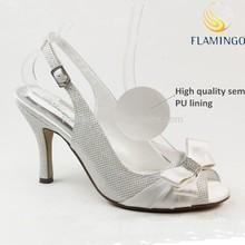 FLAMINGO 2015 ODM summer sandals pure white satin birdal wedding high heel women shoes