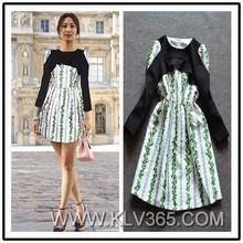 Wholesale Fashion Lady Dress Black Print Festive Dress Long Sleeve Winter Dress China Online Shopping