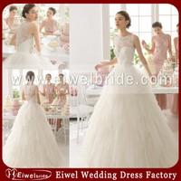 W001 elegant scoop neck cap sleeve back see through a line tulle ivory wedding dress