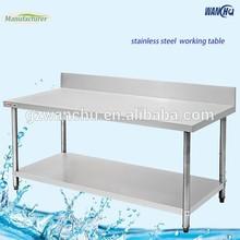 Lab Work Bench and Backsplash/Stainless Steel Kitchen Worktable With Under Shelves