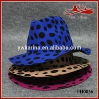 New Fashion Ladies And Womens Pop Leopard Print Wool Felt Fedora Hats
