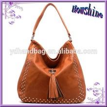 Hot Sale Brown OEM Lady Fashion Cheap Leather Handbags for 2015 Summer Season