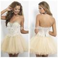Sexy rhinestone applique vestido de baile, curto vestido de tule baile mini, luz amarela curta vestidos para formatura