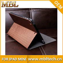 High quality knitting pattern pu leather flip case for ipad mini / for ipad air