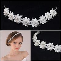 wedding tiara vestido de noiva crown bride crystal new white flower hair bands Simple flower hair accessories XT-3504