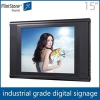 Flintstone 15inch indoor lcd advertisement video player ,15inch car pop up wall display