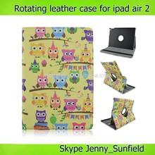 Tablet case owl cartoon design flip leather case for ipad air 2 360 rotating
