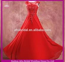 SW256 sheer top appliqued long chiffon wholesale evening dress 2014