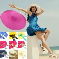 Fashion large floppy brim beach straw hat