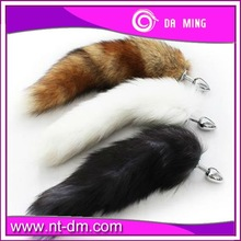 2015 Promotion hot sale Stainless steel butt plug, fox tails anal plug sex toys