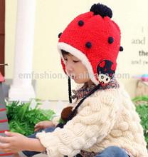 Fashion Cute Bird Patch Children's Baby Winter Acrylic Knit Pom Pom Hat