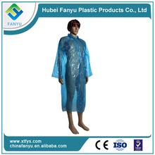 PE blue disposable transparent plastic raincoat poncho