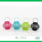 Cheap colorful metal mini round lantern for home decoration