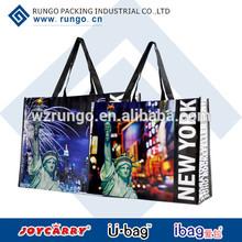 Reusable laminated non woven polypropylene tote shopping bag