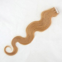 #27 strawberry blond 20inch long hair big retailers in Australia all wanted virgin european body wave tape in hair extensions