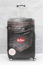 eye-catching jeans printed luggage