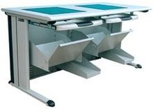 L Shaped Leg&DownWindow 2 Seats For School Use in Light Grey/PCZ-508
