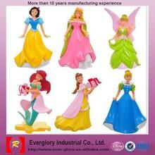 Plastic cartoon characters figure, cartoon princess figure, China import toys figurine