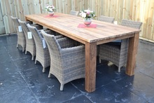 LS-1017,Solid wood outdoor recycled rubber dining table,Solid pine wood dinning table