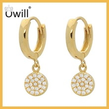 Fashionable Unique Wholesale Silver Zircon Dangle With Gold Hanging Silver Earrings
