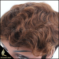Grade 7A Unprocessed virgin hair full machine made capless regular short human hair wig