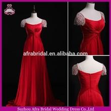 SW706 pearls bling short sleeve elegant red chiffon evening dress online shopping