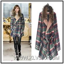 High Quality Women Coat Plaid Wool Winter Mink Fur Coat From China Wholesale