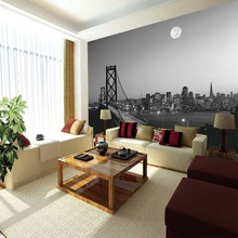 3D Wall Paper, City Skyline design of wall paper