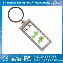 Hot 2014 promotional gift solar power flashing lcd keychain