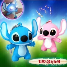 Stitch 2 pcs lights led keychain with special sound for promotion