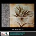 ديكور المنزل وحة زيتية الفن فضية زهرة مرسومة باليد مع المعدنية ونغمات محايد قماش اللوحة