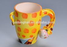 hot sale ceramic 3d custom giraffe coffee mug