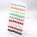 de plástico de resina de imitación de la perla plana en forma de pendientes con estudios de hierro