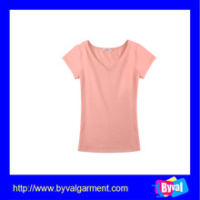 china suppliers cheap pure cotton tshirt OEM fashion blank v neck ladies tshirt/china manufacture branded women t-shirts cheap