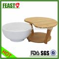 2015 caliente venta de comida seguro de cerámica con vajilla de bambú única bandeja