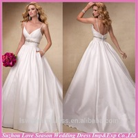 WD1158 Deep V-Neck speghetti straps low back crystals bead belt empire waist ruched satin ball gown sexy backless wedding dress