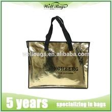 Eco-friendly gold metallic bags, metallic shopping bag,non woven recycle bag