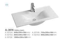 A-3076 China Luxury White thin bathroom vanity