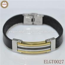 Alibaba Wholesale Men's Classic Genuine Leather Bracelet Bio Magnetic Leather Bracelet