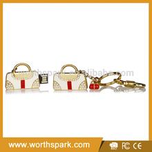 fashion lady's bag bulk flash usb with gold keychain