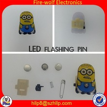 Yiwu Fire-wolf wholesale advertising gift on sale donation Mr Minions butterfly button led flashing pin