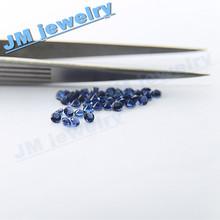 2.5mm round lab created glass blue stone
