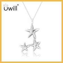 Hot Sell Yiwu Juzhi New Style Lovely Pure Silver Necklace 925 Silver Three Cluster Five Star Pendant Necklace