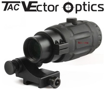 Vector Optics Rubber Armored 3x Magnifier 4 Red Dot Sight w/ Flip Side QD Mount