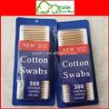 300 unids blister caliente venta hisopos de algodón de madera bastoncillos de algodón
