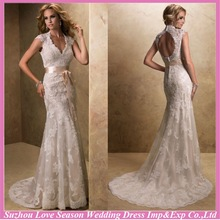 WD1266 Best selling hand elegant lace appliqued tulle keyhole back buttons line zipper new fashion applique wedding dress 2014