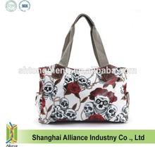 Cartoon Skull and Roses Oilcloth Shoulder Bag Canvas Strap Women Handbag (TM-ZC-069)