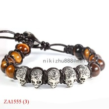 ZA1555 tiger eye skull leather Wrap Bracelet christmas ornament