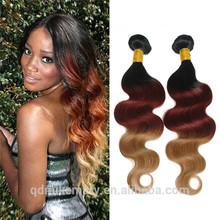 Hot Aliexpress Brazilian Virgin Hair, Human Hair Extension Unprocessed Wholesale Virgin Brazilian Hair 3 Tone Color #1B 33 27