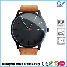 Build your watch brand new stainless steel japan movement genuine leather strap quartz watch